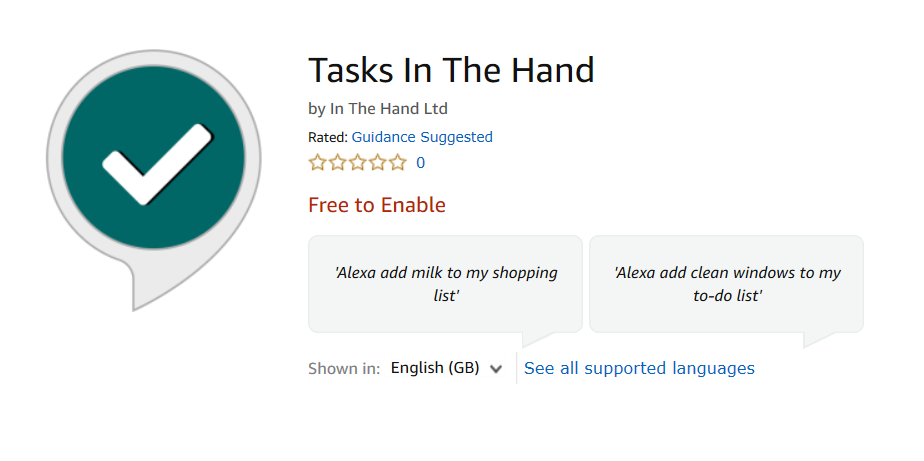 Tasks In The Hand in the Alexa Skills Store